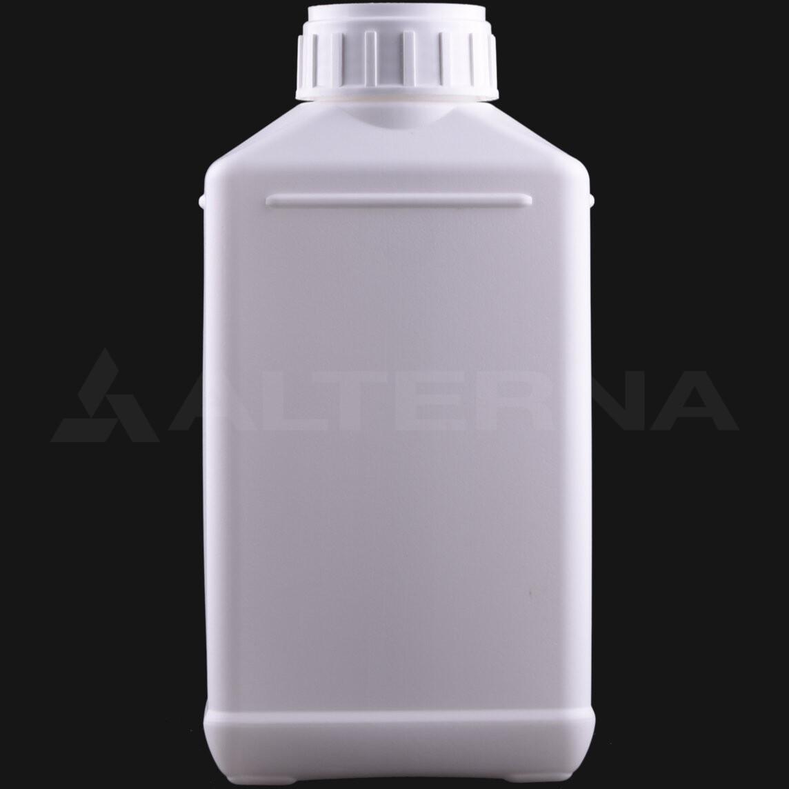 1000 ml HDPE Rectangular Bottle with 50 mm Alu. Foil Seal Cap