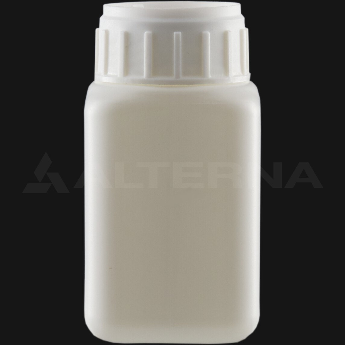 100 ml HDPE Square Bottle with 38 mm Alu. Foil Seal Cap