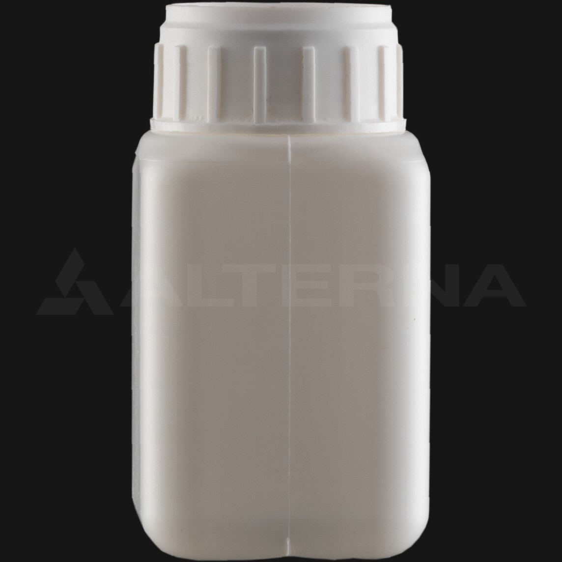 100 ml HDPE Square Bottle with 38 mm Alu. Foil Seal Vented Cap