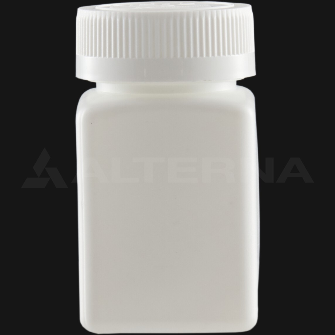 80 ml HDPE Square Pill Bottle with 38 mm Child Resistant Cap